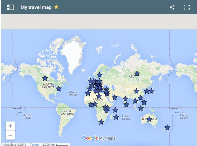 My travel map Classy Explorer – Where I Have Traveled Map